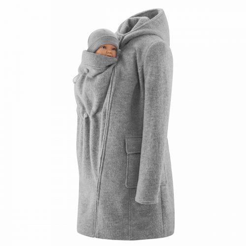 mamalila wollen jas hooded coat light grey lichtgrijs