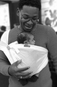 minimonkey mini sling wit newborn pasgeborene